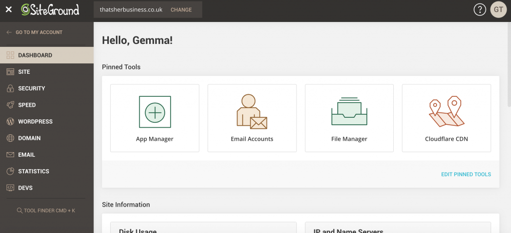 Screenshot of Siteground dashboard you will enter when setting up business email address